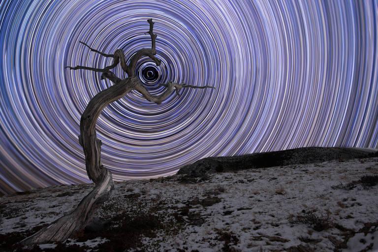 Trilha de estrelas, com Polaris, a mais brilhantes das estrelas da constelação de Ursa Menor ao centro, é fotografada por Jake Mosher