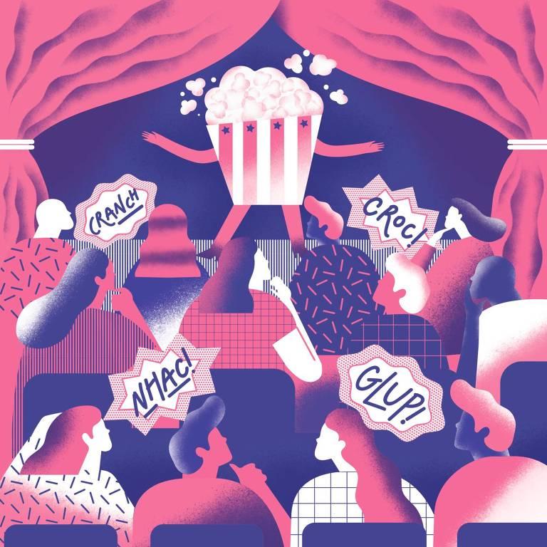 Ilustração mostra pessoas comendo na plateia do teatro e um pacote de pipoca com braços e pernas em cima do palco, como se fosse um ator
