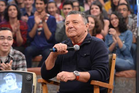 Arnaldo Cezar Coelho durante gravação do programa Altas Horas  Foto: Zé Paulo Cardeal/Globo