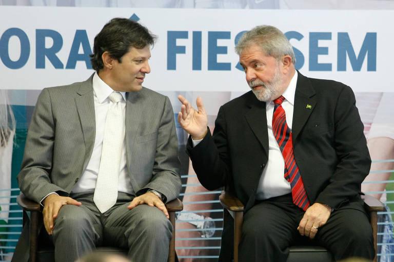 Ex-presidente Lula, com o então ministro da Educação, Fernando Haddad, no lançamento do Fies