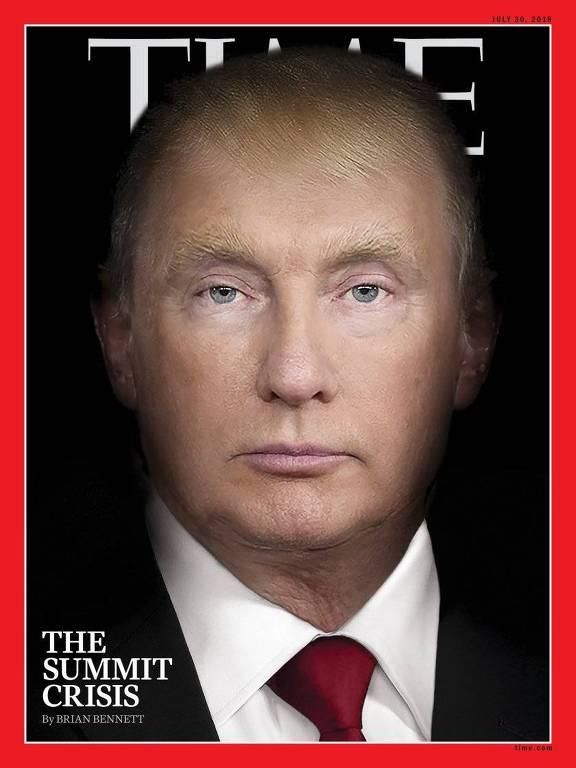 Capa da revista Time de 19 de julho de 2017 mescla rostos de Donald Trump e Vladimir Putin