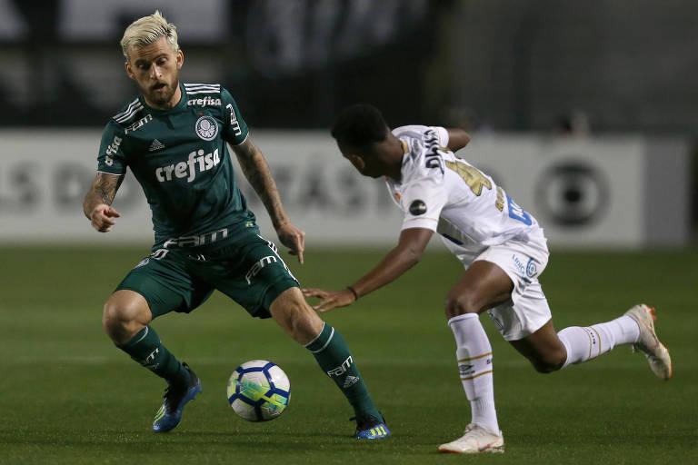 Lucas Lima marcou o gol palmeirense, seu primeiro contra o ex-clube
