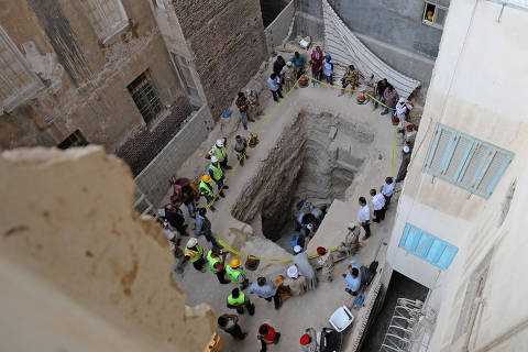 General view of the residential area where a coffin containing three mummies was discovered in Alexandria, Egypt July 19, 2018. REUTERS/Mohamed Abd El Ghany ORG XMIT: GGG-GHA07