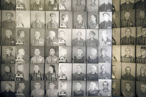 Photos of inmates at Auschwitz-Birkenau, at the former concentration camp, now a state museum, in Oswiecim, Poland, April 10, 2015. Between 1940 and 1945, 1.3 million people were deported to Auschwitz, the largest of the death camps, 90 percent of them Jews. (James Hill/The New York Times) -- NO SALES