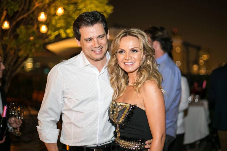 Os apresentadores Celso Portiolli e Eliana
