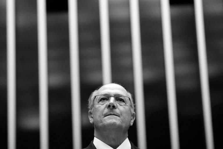 O pré-candidato do PSDB à Presidência, Geraldo Alckmin, durante sessão no Congresso, em abril