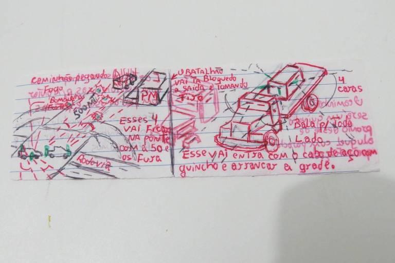 desenho de caminhão blindado que PCC pretendia usar para derrubar muro de prisão