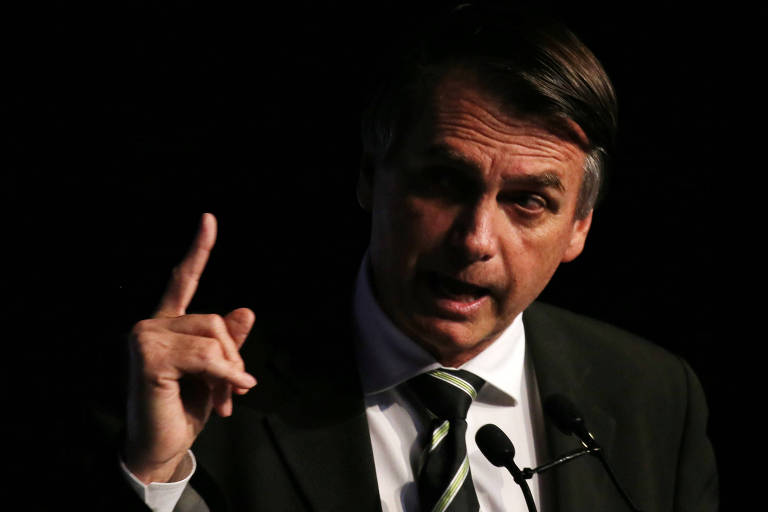 Jair Bolsonaro falando ao microfone