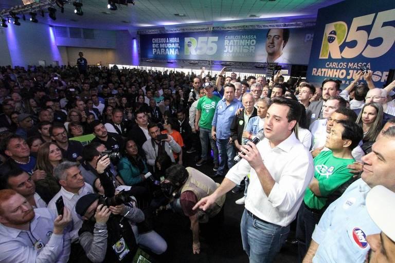 O candidato a governador do PSD, Ratinho Junior, em convenção no Paraná, neste sábado