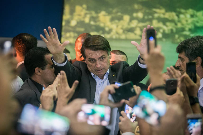 Jair Bolsonaro durante o lançamento de sua candidatura em convenção do PSL no Rio