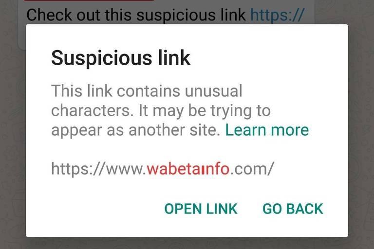 """Reprodução da tela que diz em inglês: """"Link suspeito. Este link contem um caractere incomum. Ele pode estar tentar parecer com outro site. Leia mais."""