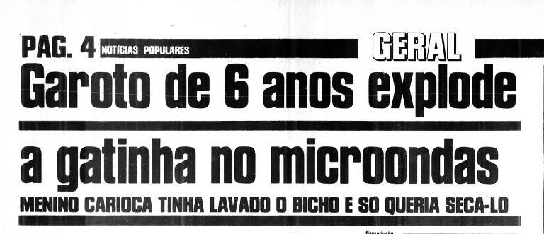 """Título da reportagem sobre a morte da gata Bolinha, publicada no """"Notícias Populares"""" em 28 de julho de 1998"""
