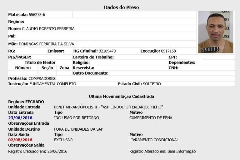 Ficha criminal de Cláudio Roberto Ferreira