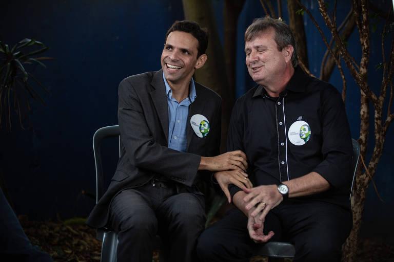 O candidato do PMN ao governo de SP, Claudio Aguiar (à esq.), e seu vice, Roberto Campos, da Rede