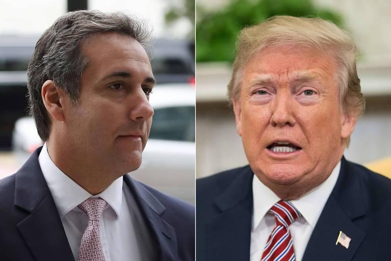 Em montagem de fotos, à esquerda Michael Cohen aparece de perfil de terno do peito para cima, enquanto Trump está à direita de frente com a boca aberta