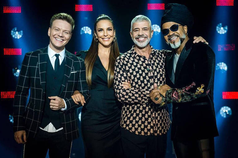 Lulu com Michel Teló, Ivete e Carlinhos na seletivas do 'The Voice Brasil' de 2018
