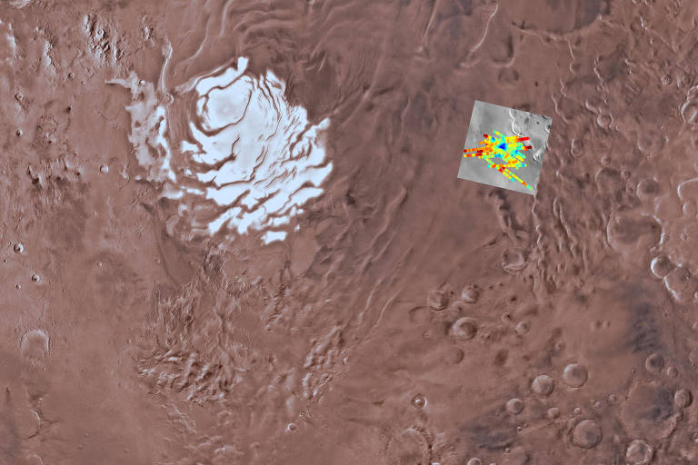 Imagem de Planum Australe, a calota polar Sul marciana, com destaque para as detecções de radar do instrumento Marsis. Região em azul é um lago sob 1,5 km de gelo