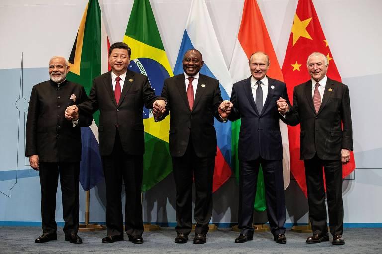 Primeiro-ministro da Índia, Narendra Modi, Presidente da China, Xi Jinping, Presidente da África do Sul, Cyril Ramaphosa, Presidente da Rússia, Vladimir Putin, e Presidente do Brasil, Michel Temer