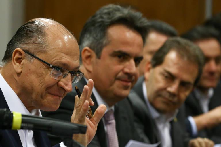 Alckmin ao lado dos presidentes de PP,  senador Ciro Nogueira, e SD, deputado Paulinho da Força, no anúncio de apoio à pré-candidatura do ex-governador, em um hotel em Brasília