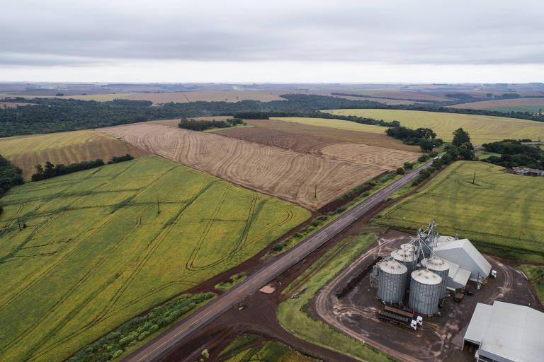 Imagem aérea de silo do agricultor Marcos Roberto Forte, que tem capacidade para 120 mil sacas