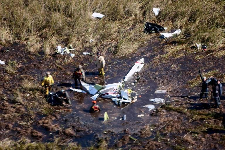 Destroços do avião que transportava o ministro paraguaio Luis Gneiting
