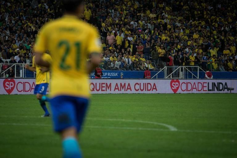 Publicidade do Programa Cidade Linda na partida entre Brasil x Paraguai, na Arena Corinthians na zona oeste de SP, válida pelas Eliminatórias da Copa do Mundo de 2018