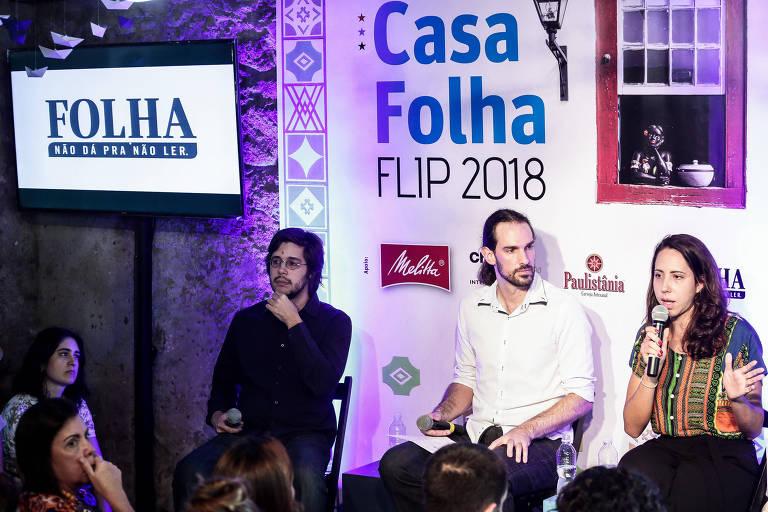 Da esquerda para a direita: Joel Pinheiro da Fonseca Uirá Machado e Laura Carvalho