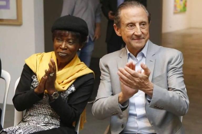 Cidinha, presidente da MDB Afro de São Paulo, ao lado de Paulo Skaf