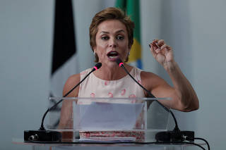 Federal Deputy Cristiane Brasil speaks during a national convention of the Brazilian Labour Party, that declared support for Geraldo Alckmin of the Brazilian Social Democracy Party (PSDB) candidacy for the presidency of the republic, in Brasilia