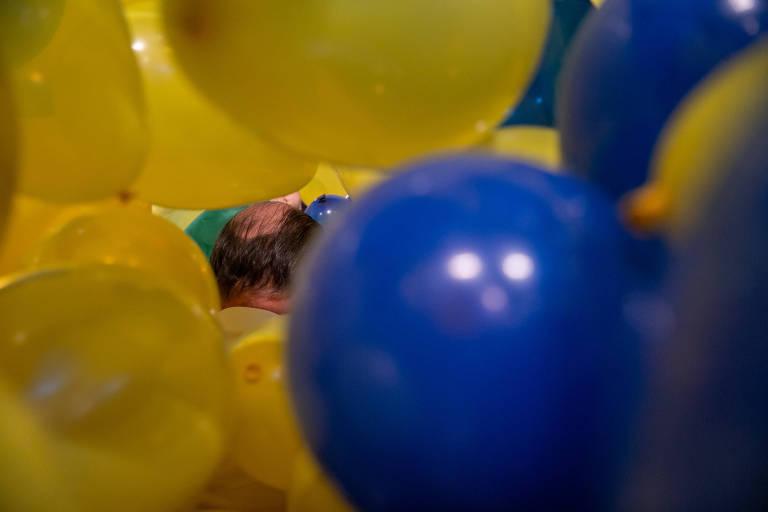 Balões usados na decoração da convenção do PSDB que confirmou a candidatura de Doria ao governo de SP