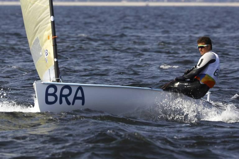 Jorge Zarif, da categoria Finn, durante as Olimpíadas do Rio 2016