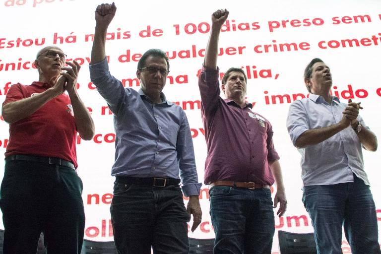 Da esq. à dir., os candidatos Eduardo Suplicy (Senado), Luiz Marinho (governo de SP) e Jilmar Tatto (Senado) e o ex-prefeito Fernando Haddad, coordenador do programa de governo de Lula