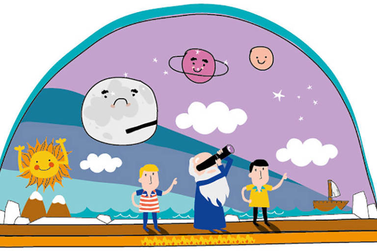 Ilustração sobre os que creem na Terra plana