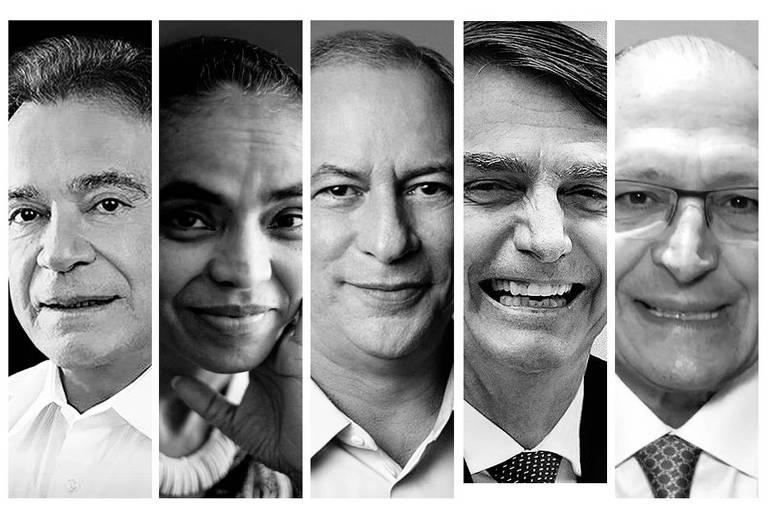 Da esq. para dir., Álvaro Dias, Marina Silva, Ciro Gomes, Jair Bolsonaro e Geraldo Alckmin
