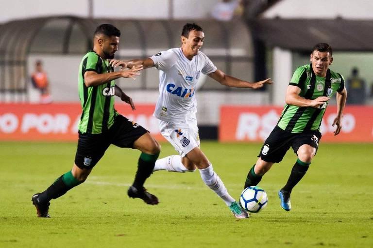 Diego Pituca, do Santos, durante a partida contra o América-MG