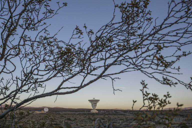 The 16-story-tall parabolic antenna at the new Chinese space station in Patagonia, Argentina, April 26, 2018. The 450-ton device, with its hulking dish embracing the open skies, is the centerpiece of a $50 million satellite and space mission control station built by the Chinese military. (Mauricio Lima/The New York Times)