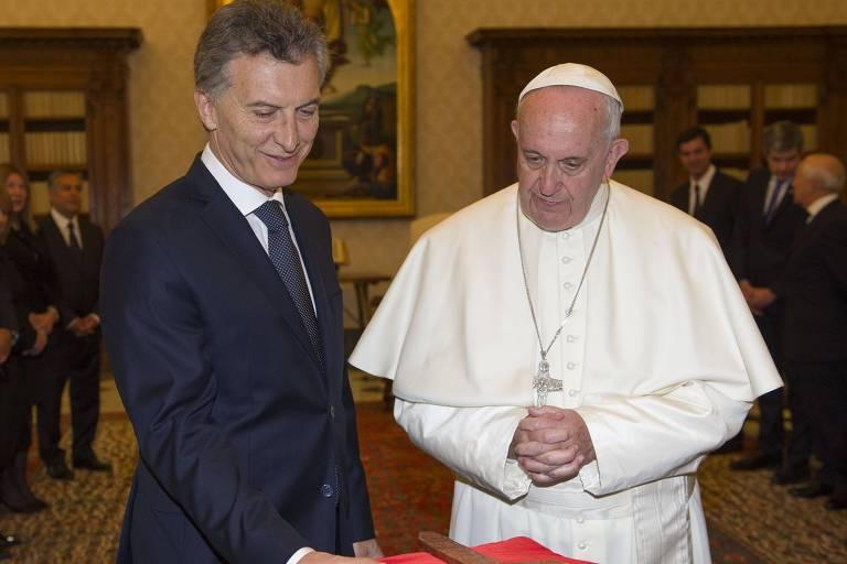 O presidente da Argentina, Mauricio Macri, durante visita ao papa Francisco no Vaticano