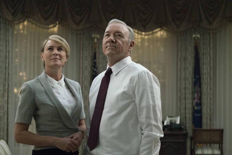 """Robin Wright e Kevin Spacey em cena da quinta temporada de """"House of Card"""", da Netflix"""