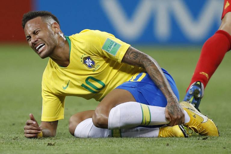 Neymar durante partida contra a Bélgica, pelas quartas de final da Copa do Mundo da Rússia, quando o Brasil foi eliminado