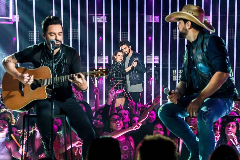Fernando e Sorocaba no programa Só Toca Top, da Globo