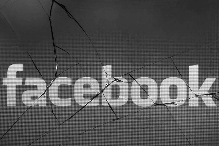 Imagem da rede social Facebook em tela de celular quebrada