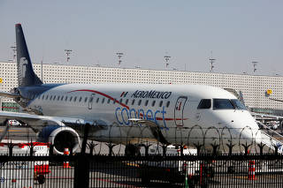 FILE PHOTO: Aeroplane of Aeromexico Connect is pictured at the airstrip at Benito Juarez international airport in Mexico City