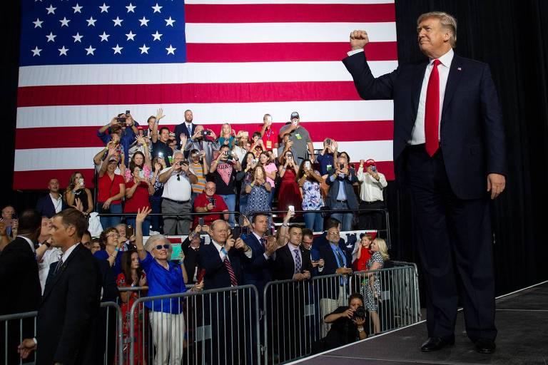 O presidente americano Donald Trump durante evento em Tampa, na Flórida