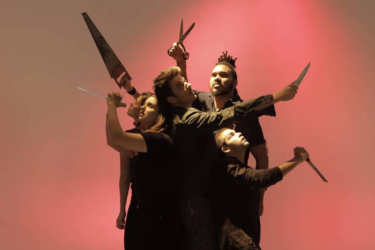 """Elenco do espetáculo """"Cobra na Geladeira"""", texto do canadense Brad Fraser com direção de Marco Antônio Pâmio"""