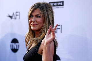 Actor Aniston waves at the 46th AFI Life Achievement Award Gala in Los Angeles