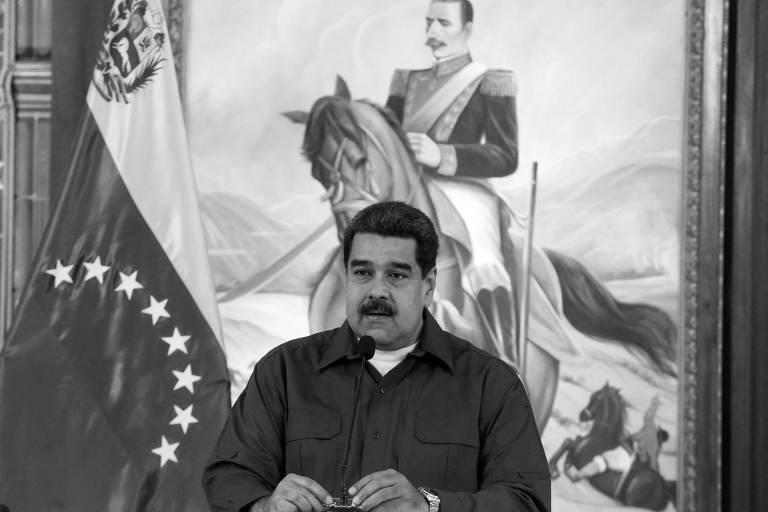 O ditador venezuelano, Nicolás Maduro, durante reunião em Caracas