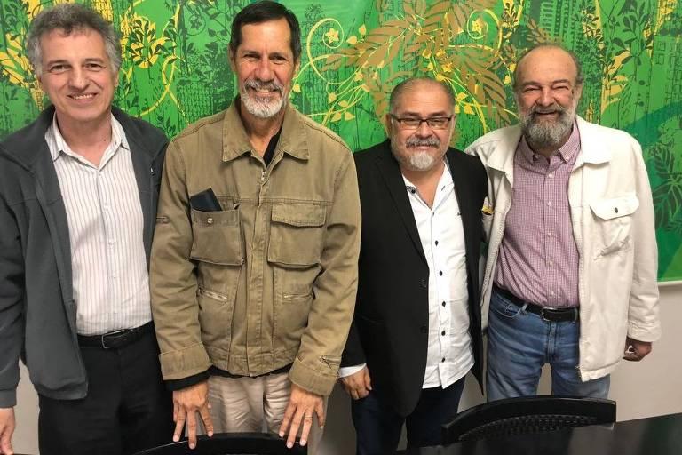 Bazileu Margarido, Eduardo Jorge, Pedro Ivo Batista e Penna na reunião da Rede com o PV sobre o apoio do PV a Marina Silva