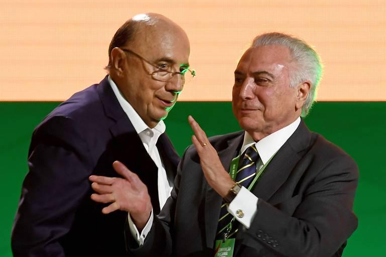O candidato derrotado à Presidência, Henrique Meirelles, e o presidente Michel Temer (MDB)