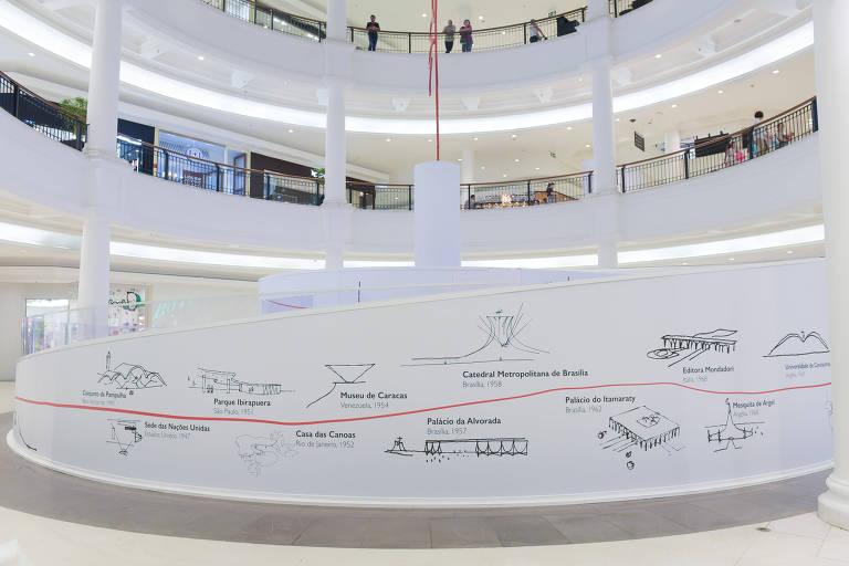 Exposição interativa sobre a obra de Niemeyer no Pátio Higienólis