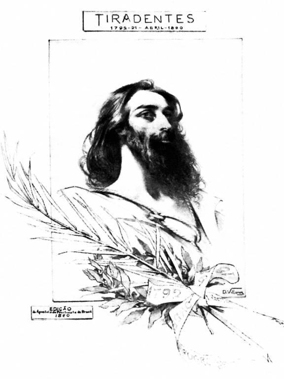 Décio Villares, Tiradentes, 1890, litografia, 46 × 27cm. Museu Histórico Nacional